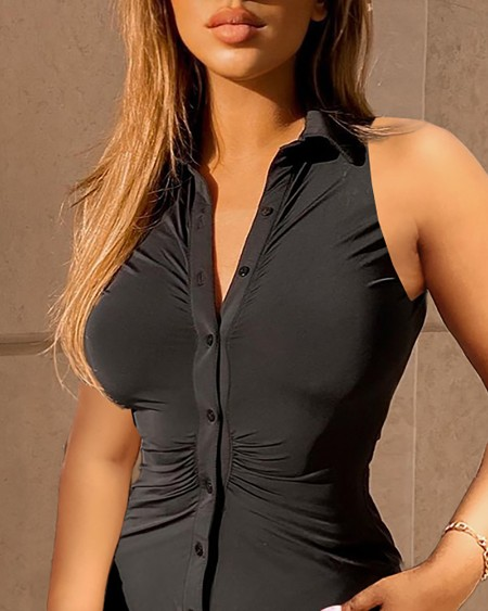 Plain Button Front Ruched Shirt Dress