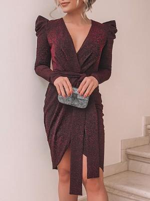 Shiny Ruched Tie Waist Wrap Irregular Dress
