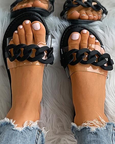 Chain Transparent Strap Open Toe Flat Sandals