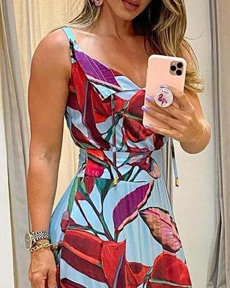 Pom Pom Decor V-Neck Leaf Print Maxi Dress
