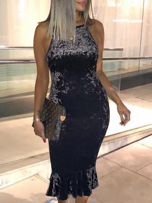 Velvet Halter Pep Hem Bodycon Dress
