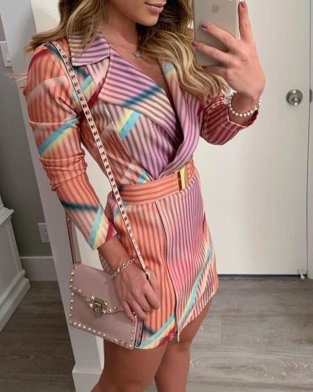Colorful Striped Print Blazer Dress