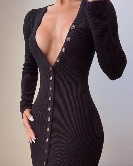 boutiquefeel / Deep V Neck Black Button-Up Dress