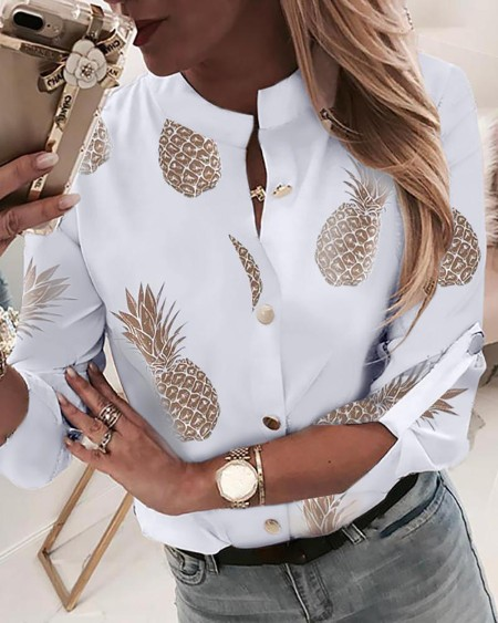 boutiquefeel / Pineapple Print Adjustable Sleeve Casual Blouse