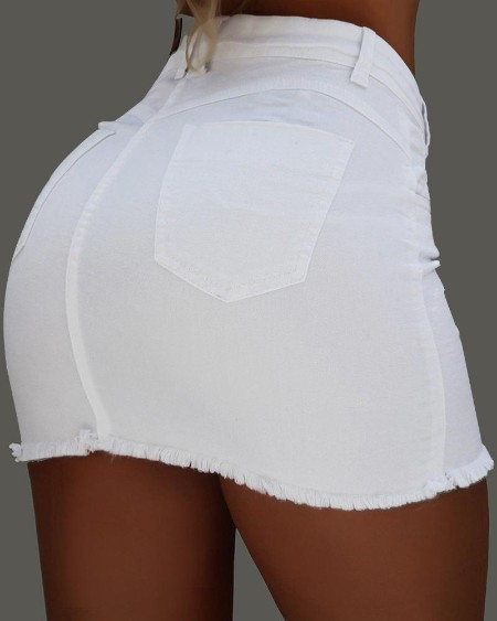 High Waist Pocket Button Design Denim Skirts