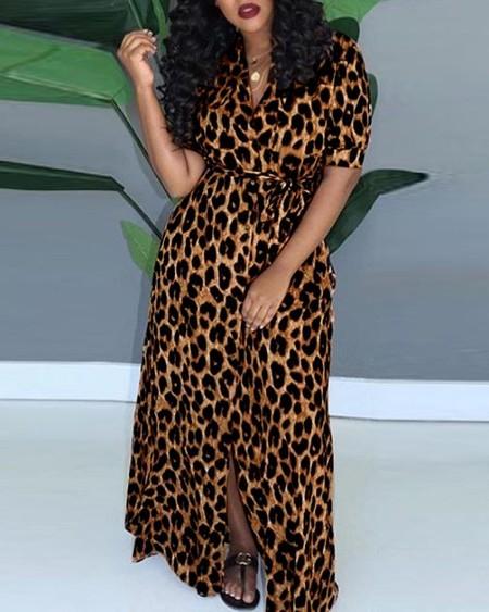 Cheetah Print Pocket Design Maxi Dress