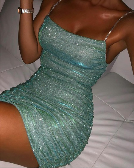 Sequins Rhinestone Strap Bodycon Dress