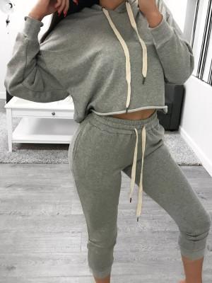 Fashion Stretchy Drawstring Casual Hoodie Pantsuit