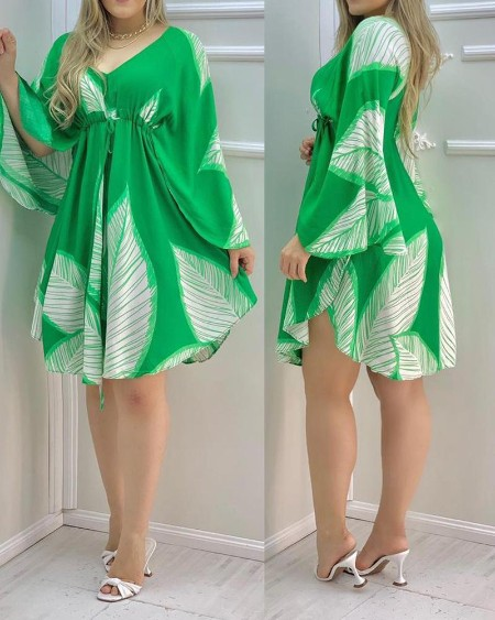 Cape Sleeve Leaves Print Ruched Dress