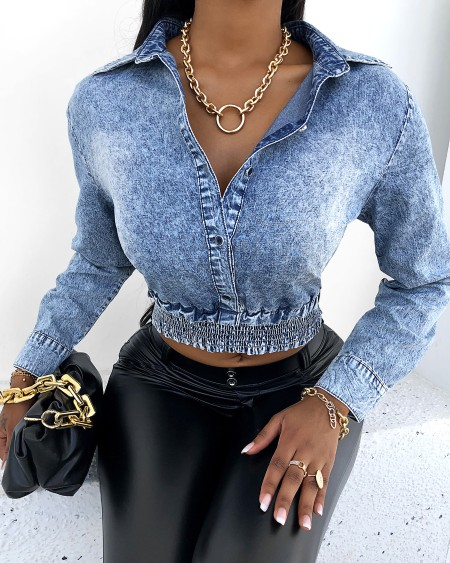 Button Design Long Sleeve Denim Crop Top