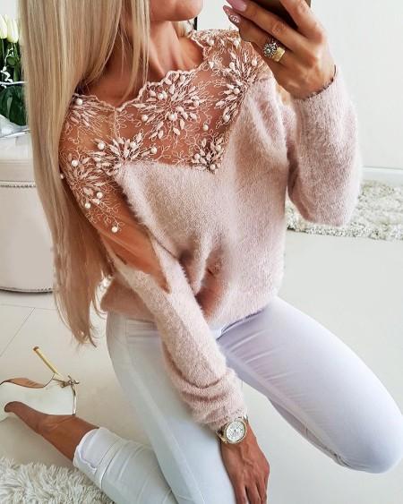 Crochet Lace Beaded Fluffy Sheer Mesh Sweater