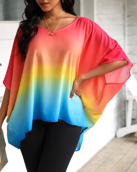 boutiquefeel / Gradient Color Tie Dye Print Batwing Sleeve Casual Top