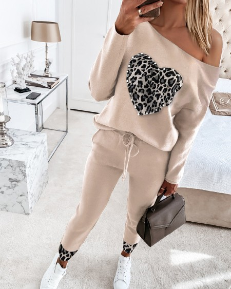 Cheetah Heart Pattern Beaded Top & Drawstring Waist Pants Set