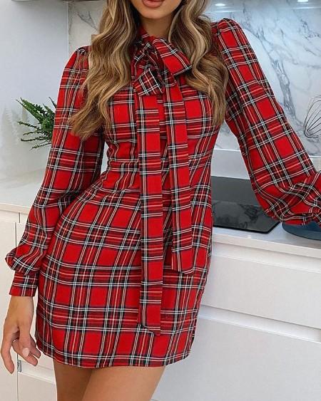 Tie Neck Plaid Print Long Sleeve Shirt Dress