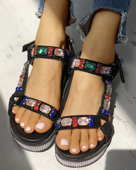 Studded Design Slingback Muffin Sandals