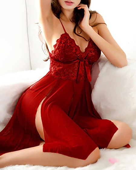 Lace Bodice Babydoll Slip With Thong