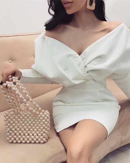 Leg-of-Mutton Sleeve Bodycon Dress