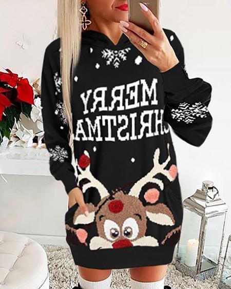 boutiquefeel / Christmas Moose Letter Print Dress