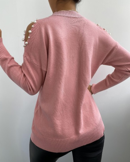Cold Shoulder Beaded Knit Sweater