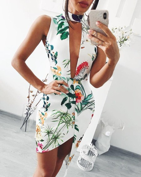 Tropical Print Plunge Sleeveless Irregular Bodycon Dress
