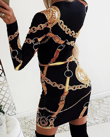 Scarf Print Long Sleeve Bodycon Dress
