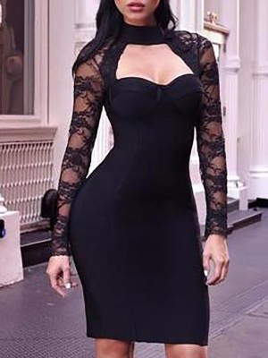 Sexy Lace Splicing Choker V Bodycon Dress
