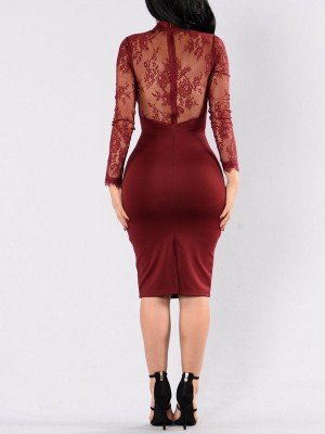 Sexy Lace Splicing Choker V Bodycon Dress