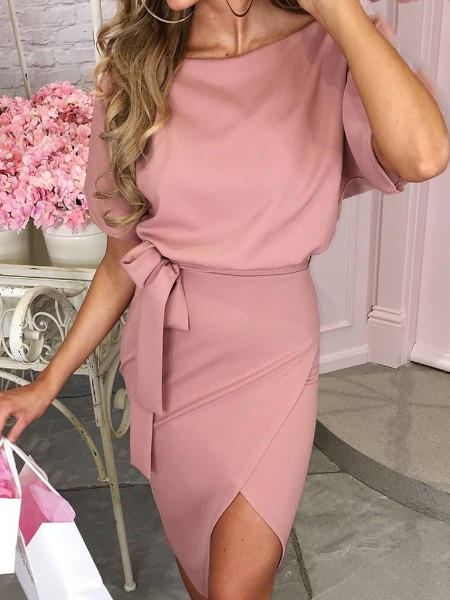 Short Sleeve Wrapover Hem Casual Dress