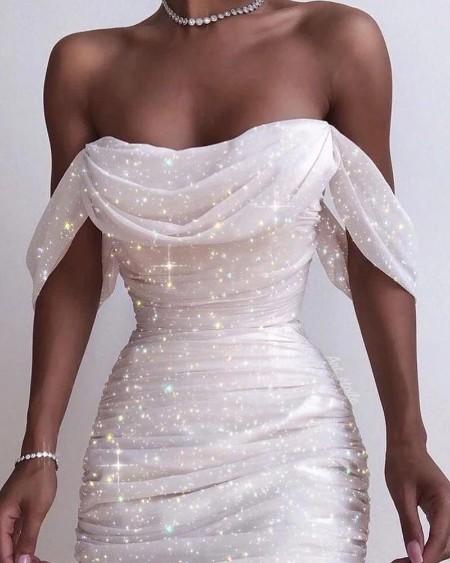 Off Shoulder Cowl Neck Sequined Dress