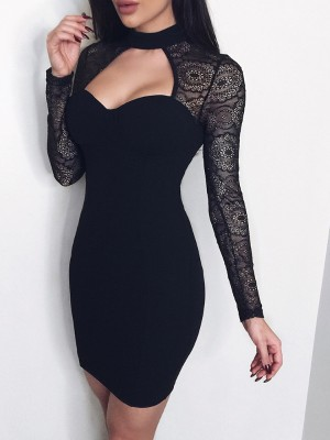 Splicing Lace Cut Out Bodycon Dress