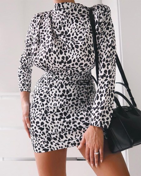 boutiquefeel / Leopard Print Tight Waist Casual Dress