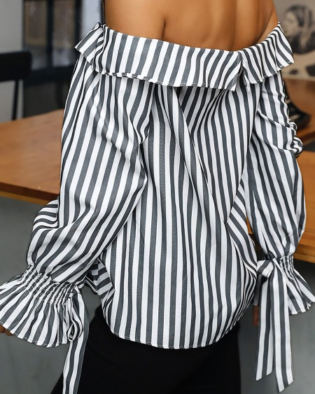 Choker Off Shoulder Striped Tied Cuff Blouse