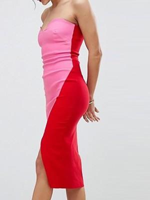 Strapless Contrast Color Splicing Slit Dress