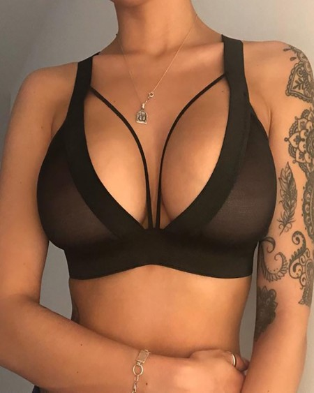 Cutout Mesh Breathable Thick Strap Bralette