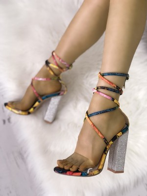 Transparent Colorful Lace-up Chunky Heeled Sandals