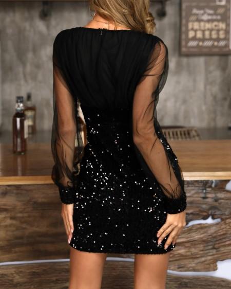 Sheer Mesh Sequin Patchwork Bodycon Dress