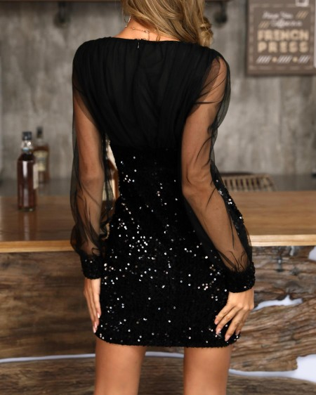 Sheer Mesh Sequin Patchwork Bodycon Dress
