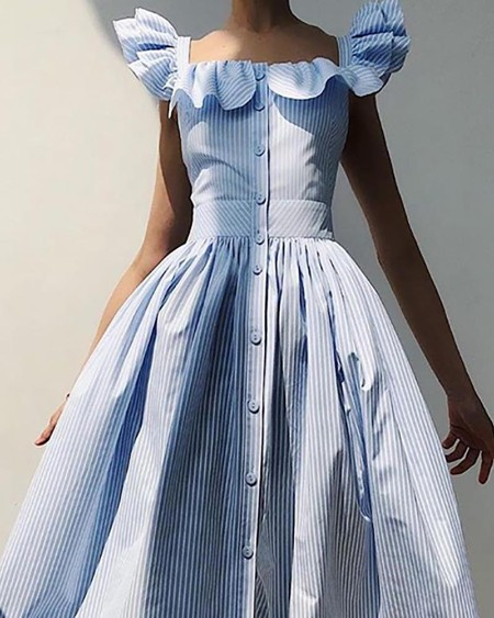 Striped Colorblock Flutter Sleeve Ruffles Maxi Dress