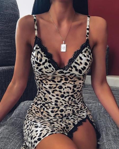 Lace Trim Bodycon Leopard Dress