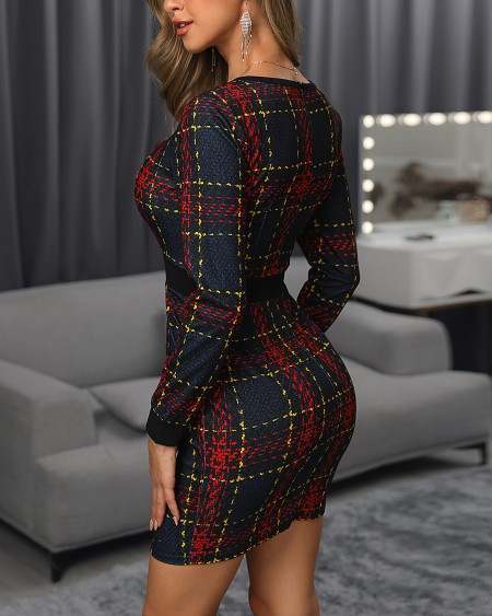 Plaid Long Sleeve Colorblock Insert Dress