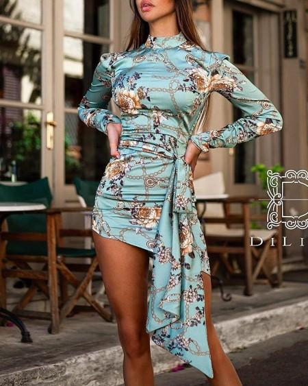 Chain & Floral Print Bodycon Dress