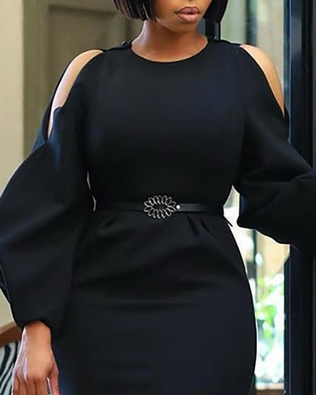 Sexy Cut Out Balloon Long Sleeves Work Dress