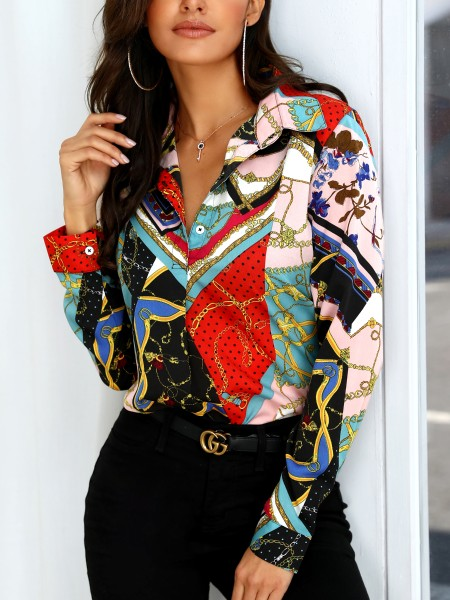 Mixed Chain Print Casual Blouse