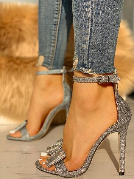 Glitter Bowknot Design Thin Heeled Sandals