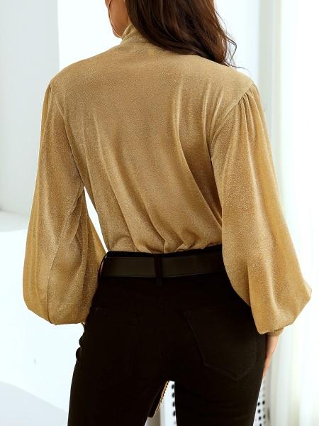 Glitter Open Front Gigot Sleeve Bodysuit
