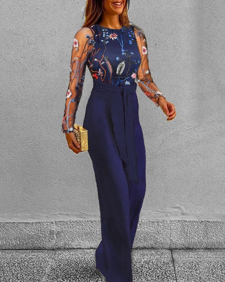 boutiquefeel / Mesh Floral Embroidery Jumpsuit