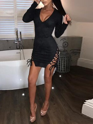 Sexy Lace-up Long Sleeve Bodycon Dress
