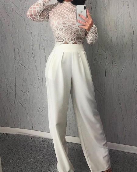 boutiquefeel / Sheer Lace Top & Wide Leg Pant Sets