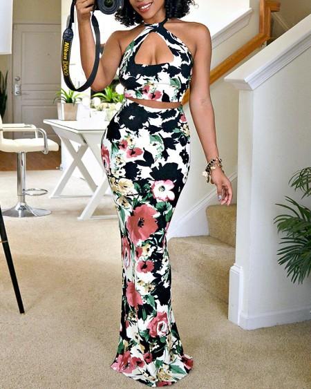 Floral Print Halter Top & Maxi Skirt Sets