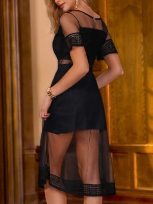Black Sheer Mesh Overlay Party Dress